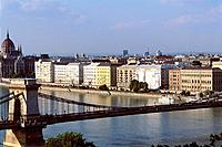 Hungary _ Pest _ View of Pest and Bridge of Chain