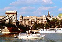 Hungary _ Pest _ View of Pest and the Chains Bridge