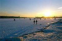 Russia _ St Petersburg _ Frozen Neva _ Front of Peter and Paul Fortress