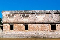 Nunnery Quadrangle in Uxmal, Pre-Columbian ruined city of the Maya civilization (late Classic period 600 - 900 A.D.). Yucatan, Mexico