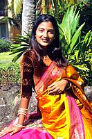 Mauritius _ Mauritian _ Indian Woman _ safron and pink Sari