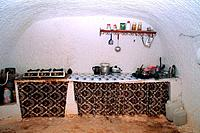Tunisia _ The South _ Jebel Dahar Region _ Matmata _ troglodytic house _ house interior