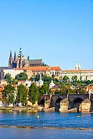 Czech Republic _ Prague _ Mala Strana Prague 1 District _ View of Charles Bridge Karluv Most and of Hradcany and of the royal castle