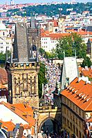 Czech Republic _ Prague _ View of Staré Mesto Prague 1 District The old city and of Charles Bridge Karluv Most