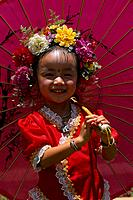 China _ Yunnan _ Xishuangbanna _ Jingzhen _ Little girl in a traditional costume