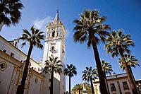 Plaza del Corazon de Jesus and church of San Juan Bautista, La Palma del Condado. Huelva province, Andalucia, Spain
