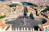 Italy _ Rome _ Vatican _ St. Peter Square and Colonnade of Bemin seen from the Cupola