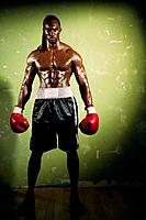 Portrait of African male boxer