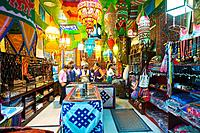 Dazhalan Jie (street). Tibetan Art-Deco shop, the interior. Beijing. China.