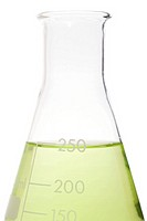 Green liquid in a volumetric flask