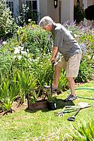 Senior man gardening, side view