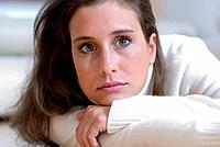 Portrait young woman, serious view