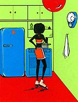 Woman in rollerskates in kitchen cooking
