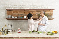 Senior Couple at the Kitchen,Korea