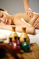 Korean Woman Relaxing at Spa