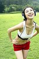Young Girl with Headset,Outdoor,Korea