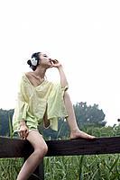 Young Girl with Headset,Outdoor,Korea