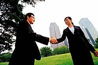 Korean Businessmen Shaking Hands