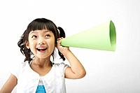 Young Korean Girl with Megaphone