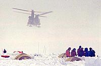 A helicopter rescue of mountaineers on the West Buttress route on Denali AK