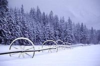 Snow on farm equipment near Winthrop Washington