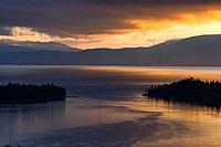Reflections at sunrise in Lake Tahoe California