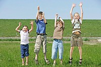 Meadow, children, four, jumps, frolic, series, people, girl, boys, leisurewear, movement, fun, enjoyments, caper, laughing, joy, happily, freely, play...
