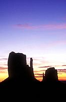 USA Arizona Monument Valley Navajo Tribal Park dawn over the Left and Right Mittens