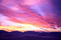 USA New Mexico White Sands National Monument sunset over dunes