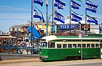 Cable Car in front of Pier 39, San Francisco, California, USA