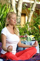 woman, young, garden, yoga, meditation,