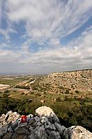Israel Carmel Wadi Oren and road 721 and Carmel coast as seen from Etzba cave
