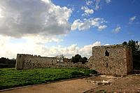 Israel Sharon region Remains of the Roman city Antipatris built by King Herod in Tel Afek Ottoman fortress Binar Bashi is in the background