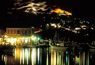 Molyvos, view, medieval castle, Greece: N E  Aegean, Lesvos