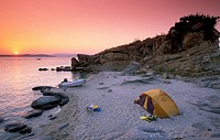 Amoliani Island, beach, tent, sunset, Halkidiki, Macedonia Central, Greece