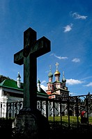 Novodevichy Cemetery, black cross, Moscow, Russia, Europe