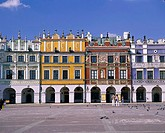 Poland, Woiwodschaft Lublin, Zamosc, market place, citizen_houses, tourists, East_Poland, city, Old Town, UNESCO World Heriatge Site, buildings, const...