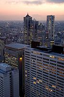 Japan, Tokyo, Shinjuku, city view, high_rises, twilight, series, Asia, East_Asia, Honshu, city, city, metropolis, skyscrapers, office_high_rises, busi...