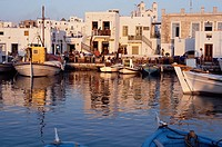 Cyclades, Paros Naoussa, boats, cafe terraces