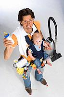 Father, young, lancourt, baby, vial, diapers, cleaner, vacuum cleaners, symbol, homemaker, smiling, top view, series, people, studio,full_length, man,...