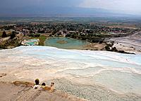 Turkey, Pamukkale, sinter_terraces, swimmers, city_overview, Anatolia, west_Anatolia, lime_sinter_terraces, terraces, sinter_lime, sinter_lime_fans, l...