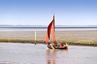 Germany, East Frisia, northern dike, sailboat, harbor_exit, North Sea