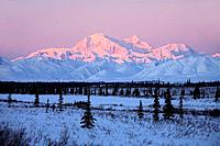 Canada, Alaska, Denali national_park, Mount Mc Kinley, 6194 m, sunrise, winter, North America, mountain scenery, winter_landscape, mountains, mountain...