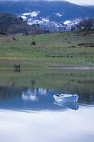 Boat near Lambero village, Lake Plastira, Thessaly, Greece