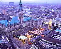 Germany, Hamburg, town hall, Christmas_market, top view, Northern Germany, hanseatic city, houses, buildings, town hall_buildings, town hall_place, ma...