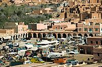 Morocco, Dades_Valley, Boumalne du dades, city view, market place, Africa, North_Africa, city, desert_city, houses, buildings, architecture, clay_hous...