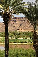 Morocco, Draa_Valley, Agdz, Kasbah Timiderte, river draa, Africa, North_Africa, destination, sight, palace, fortress, construction, architecture, clay...