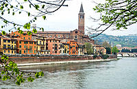Church of Santa Anastasia and Adige river. Verona. Veneto, Italy