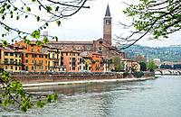 Church of Santa Anastasia and Adige river. Verona. Veneto, Italy