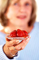 Woman and strawberry tart